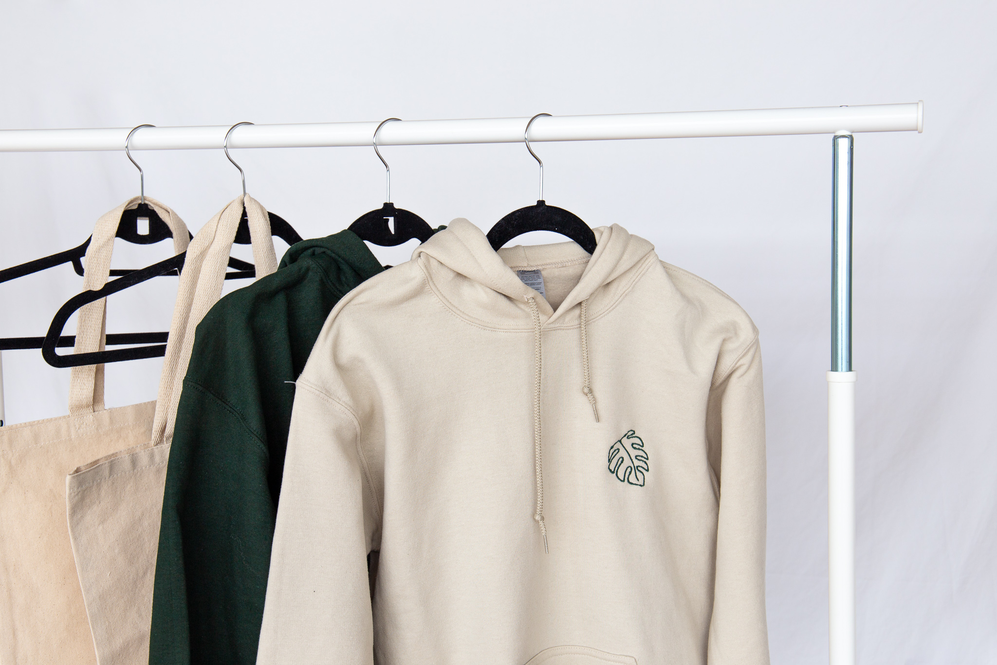 Embroidered Tan Monstera Hoodie